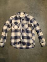 RGT Brand New Rogue Territory DISTRESSED FLANNEL Blue Plaid Collared Shirt Small