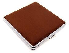 Cigarette Case -- Mysmokingshop Brown Design Leather Chrome King Size - NEW kst2