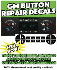 AC Button Repair Kit Decal Stickers Dash Replacement For 2007-2014 GM Vehicles