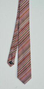 PAUL SMITH Signature Stripe 100% Silk Tie striped MADE IN ENGLAND