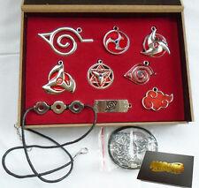 9Pcs/Set Naruto Sharingan Konoha Leaf Uchiha Pendant Necklace Keychain Toy