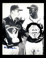 Warren Spahn PSA DNA Coa Hand Signed 8x10 WitH Hank Aaron Photo Autograph