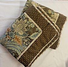2 Home Fashions Int'l Pillow Shams Blue Brown Brocade Braided Trim 20x38x3 King