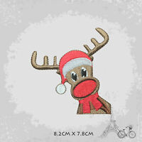Reindeer With Hat Christmas Patch Iron On Patch Sew On Embroidered Patch
