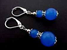 A PAIR OF BLUE  JADE SILVER  PLATED DROP DANGLY LEVERBACK HOOK EARRINGS. NEW.