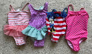 Lot of 4 Baby Girl Bathing Suits Size 9 Months Disney Cat & Jack Tulle One Piece
