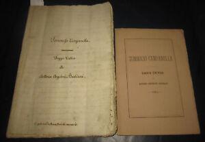 1876 Barbiani. Tommaso Campanella. Manoscritto originale + libro. Filosofia
