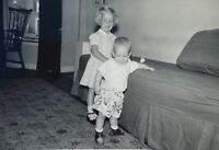 Vintage 1950's Boy & Girl Siblings Photograph Picture Black & White