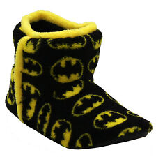 KIDS CHILDREN UNISEX FLUFFY WARM COSY SLIPPERS BOOTS BATMAN BOOTIES SHOES SIZE