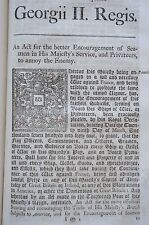 Group of 38 British Acts Pirates Privateers America Jacobites Trade…1743-1744