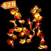 20/40LEDs Lighted Fall Autumn Pumpkin Maple Leaves Garland Halloween Xmas Decor