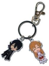 **Legit** Sword Art Online Authentic Anime Metal Keychain Kirito & Asuna #36640