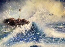 Bude Rough Sea Cornwall art print from a Watercolour painting by Alex Pointer