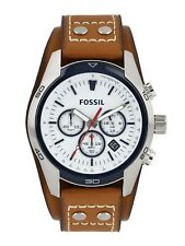FOSSIL MENS BROWN LEATHER CHRONO WATCH | NEW COACHMAN CH2986 QUARTZ RRP £199