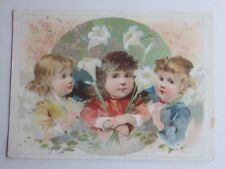 1893 VICTORIAN TRADE CARD EASTER GREETINGS LION COFFEE WOOLSON SPICE TOLEDO OHIO