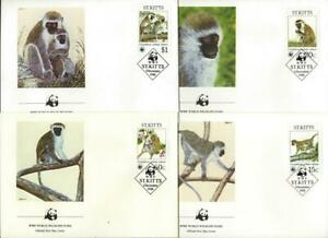 ST KITTS - 1986 WWF 'GREEN MONKEY' Set of 4 First Day Covers [9423]