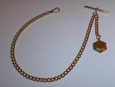 Gold Plated Albert Pocket Watch Chain + Locket Fob.
