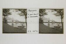 Roumanie Romania Pont Carol Plaque de verre stéréo 1909