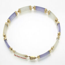 "14k Yellow Gold Lavender Jade & Mother of Pearl ""Joy"" Clasp Bracelet -TPJ"