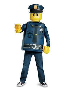 Lego-Polizist Kinderkostüm für Karneval Lizenz blau-gelb - Cod.315779