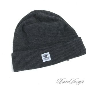 #1 MENSWEAR Reigning Champ Charcoal Grey Knit Ribbed Beanie Watchman Hat Cap NR
