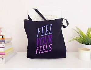 Feel Your Feels - Large Canvas Tote Bag