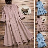 Mori Girls Vintage Long Shirt Dress Tunic Retro Ethnic Midi Dress Plus Sundress