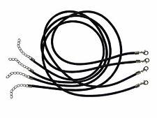 LOT DE 4 COLLIERS CORDONS CAOUTCHOUC PLEIN NOIR Ø3mm - LIVRAISON GRATUITE