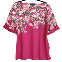 Karen Scott Pink Floral Boatneck Short Sleeve T-Shirt Womens Size 0x & 3x NEW