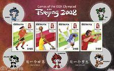 Beijing Olimpiadi Souvenir Foglio Nuovo senza Linguella 2008 Guyana #3988