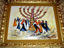 JOSSI YOSSI STERN JERUSALEM's PAINTER MENORAH ORIGINAL ENAMEL PAINTING FRAMED