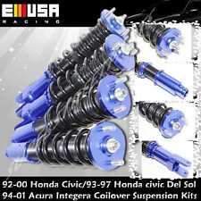 EMUSA Full Coilover Suspension Kits fits 92-00  Civic 94-01 Integra Blue