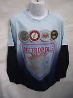 BNWOT Boys Sz 7 Justice League 2 Tone Blue Long Sleeve Layered Tee Shirt Top