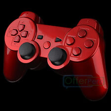 Glossy Red Design Replacement Mod Full Shell Matching Buttons for PS3 Controller