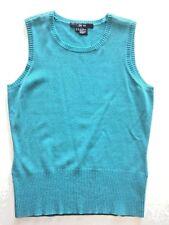 Per Se Carlisle NWOT M Wool Cashmere Sleeveless Top Shell Vest Blue Turquoise