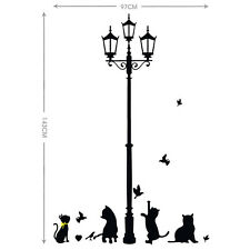 Street Lamp Cat Bird Art DIY Removable Home Furniture Decals Wall Sticker Mural