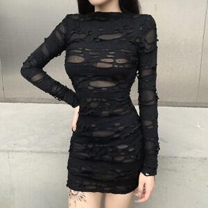 Schwarzes Kleid Gothic Sexy Aushöhlen Minikleid Punk Retro Bodycon Kleid