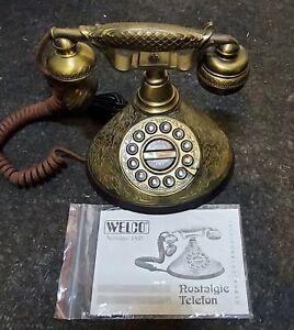 Nostalgie Tastentelefon aus Messing mit TAE Stecker und Anleitung
