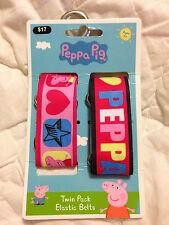 PEPPA PIG TWIN PACK ELASTIC BELTS BNWT FREE POSTAGE (B47b52)