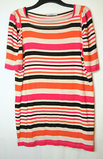 CREAM PINK BLACK ORANGE STRIPED LADIES CASUAL TOP TUNIC BLOUSE SIZE 20 GEORGE