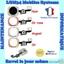 BOUTON HOME + NAPPE COMPLET IPHONE 6S ou 6S PLUS en NOIR ARGENT OR ROSE OR