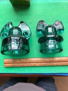 TWO Hemingray  Mickey Mouse Insulator Model 60  & COLUMBIA -  Green