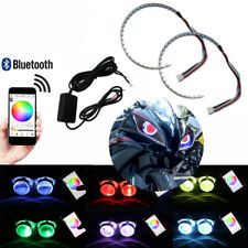 RGB LED Demon Eye Ring Lights APP Remote For Motorcycle Projector Lens Mods