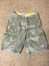 "HOLLISTER ABERCROMBIE & FITCH MENS 28 CARGO SHORTS CAMO ARMY GREEN 21"" HEAVY"
