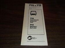MARCH 1981 CHICAGO RTA ROUTE 712/713 CAROL STREAM BUS SCHEDULE
