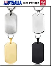 Titanium Stainless Steel Necklace Engravable Military Army Polished Dog Tag SN70