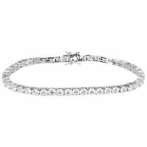 ICED Bling High Quality Bracelet - SILVER 1 ROW 4mm