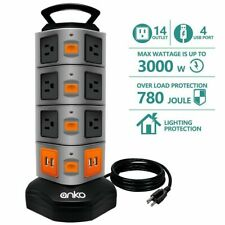 14 Outlet Power Strip 4 USB Charging Ports 3000W Surge Protector 6 FT Cord Wire