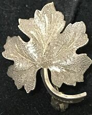 Vintage Signed PSCO Sterling Silver Dainty Maple Leaf C Clasp Pin Small Brooch