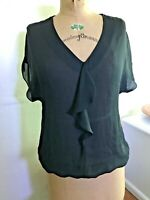 Womens S BLACK CHIFFON Short Sleeve Shirt Top Ruffle Blouson ANN TAYLOR LOFT